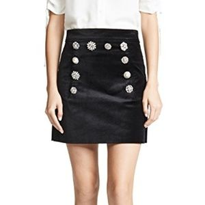 Veronica Beard Black Ording Velvet Skirt, Size 0